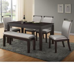 Home Source Wimbish Dark Expresso 6 Piece Dining Set With 1 Table 4 Chairs And 1 Bench