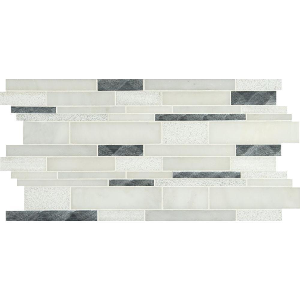 Moderno Blanco Interlocking 12 in. x 18 in. x 8 mm Metal/Stone Blend Mesh-Mounted Mosaic Tile (15 sq. ft. / case)