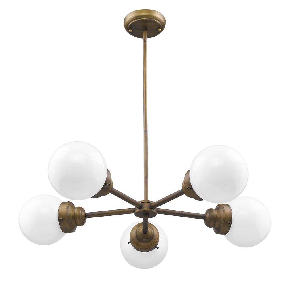 Geometric Brass Chandelier: Acclaim Lighting Portsmith 5-Light Raw Brass Geometric