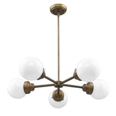 Portsmith 5-Light Raw Brass Geometric Chandelier