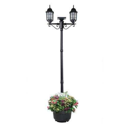 Addison 89 in. 2-Head Black Outdoor Solar Lamp Post and Planter
