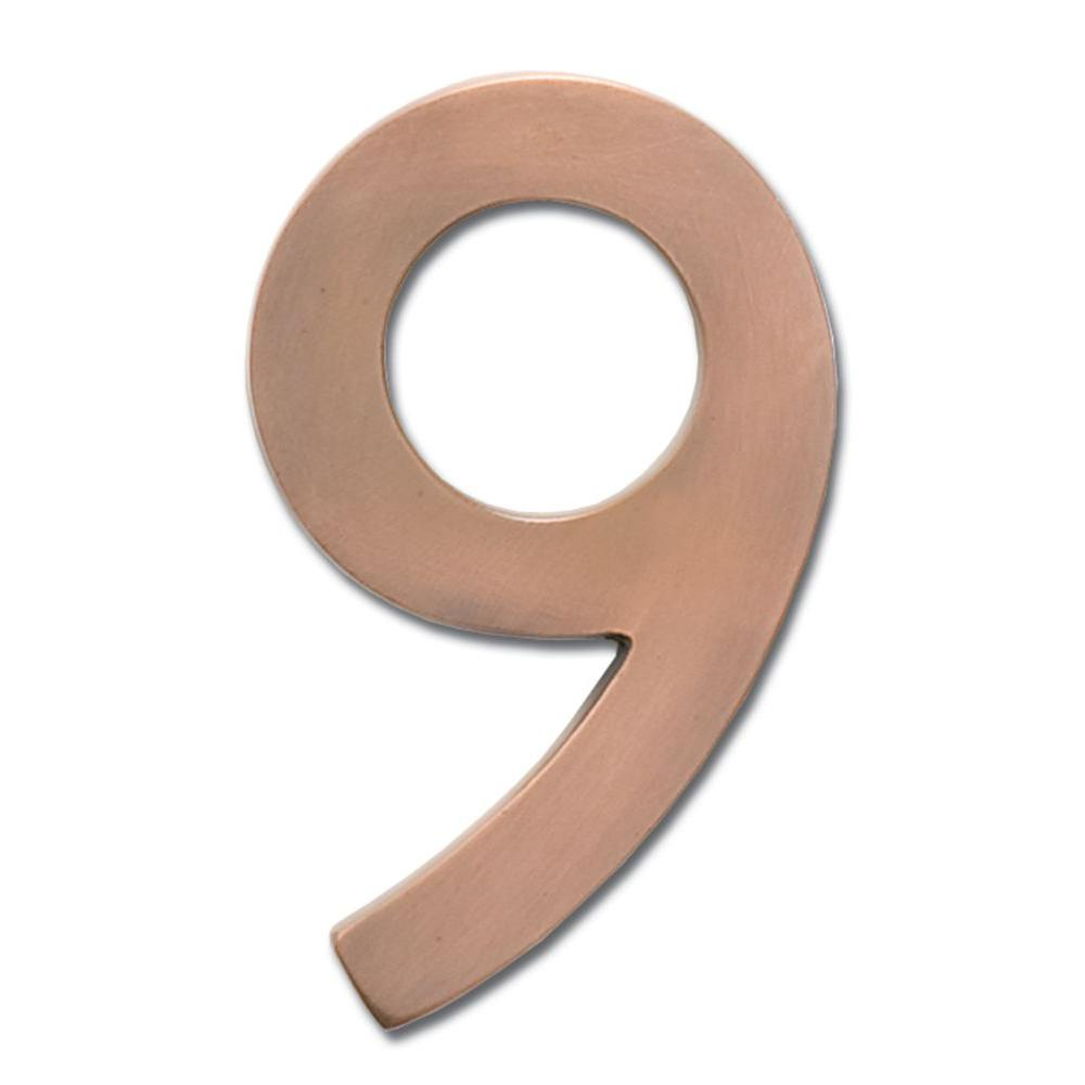 4 in. Antique Copper Floating House Number 9