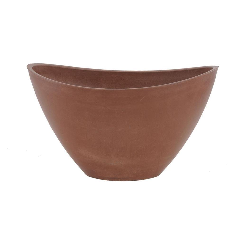 Arcadia Garden Products Swoop 16 in. x 12 in. x 9 in. Terra Cotta PSW Pot