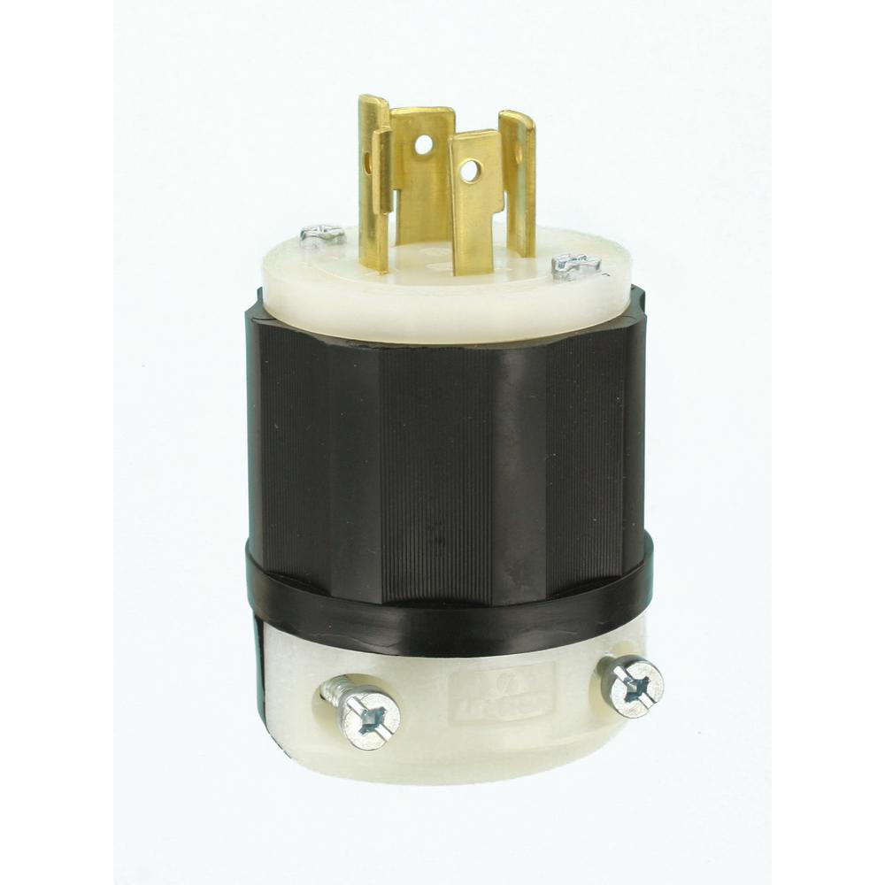 20 Amp 250-Volt Locking Grounding Plug, Black/White