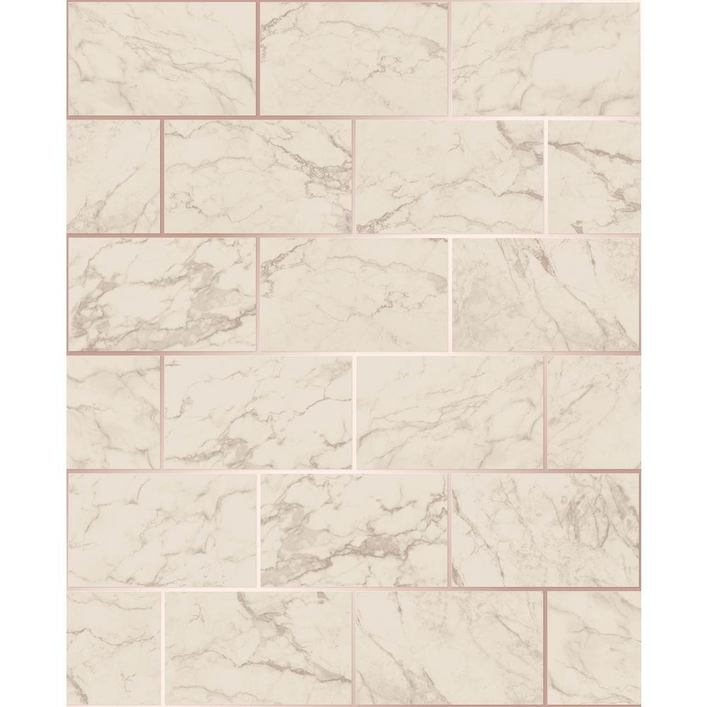 Mirren Beige Marble Subway Tile Wallpaper