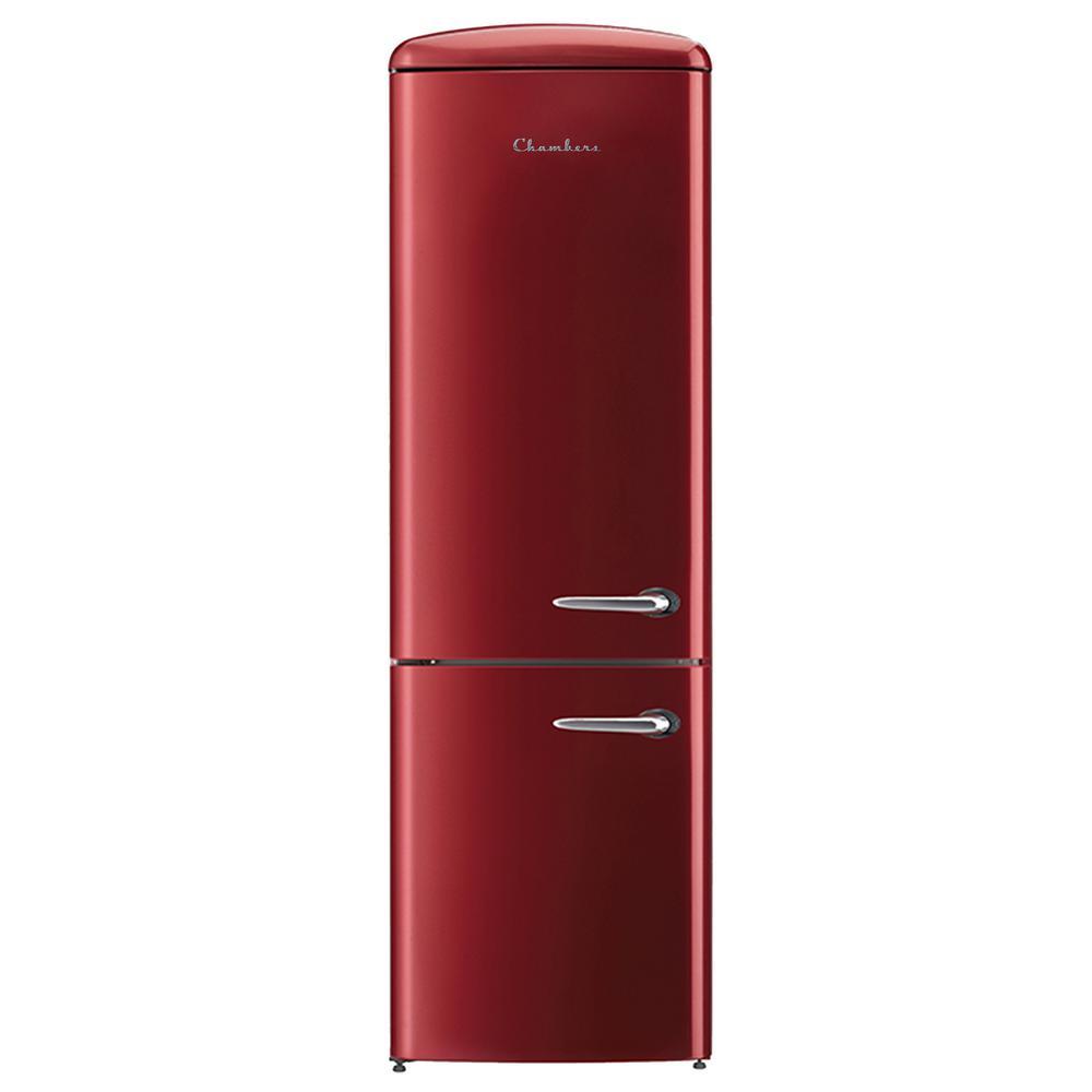 24 in. 12 cu. ft. Left Hand Swing Retro Bottom Freezer Refrigerator in Bordeaux