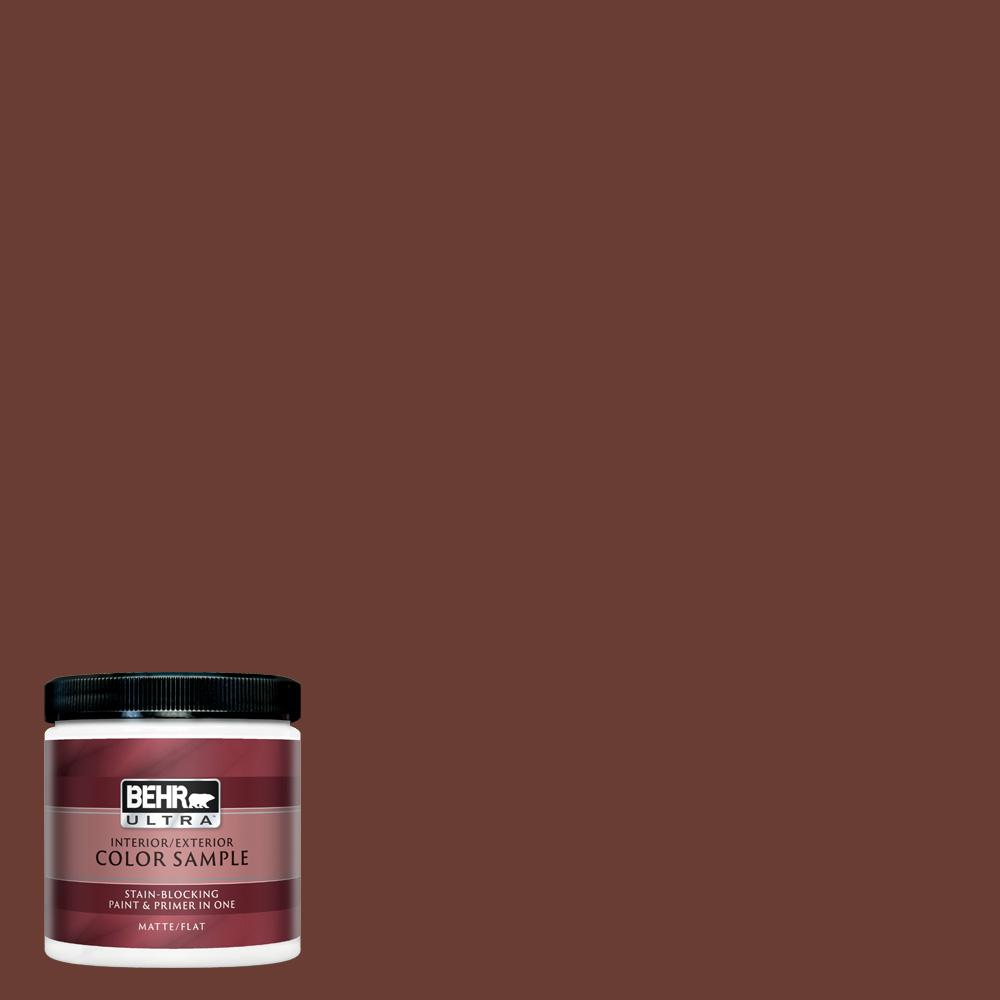 Behr Ultra 8 Oz Ecc 42 3 Deep Cherrywood Matte Interior Exterior Paint And Primer In One Sample