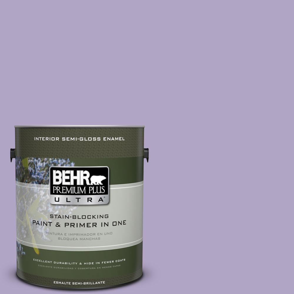 BEHR Premium Plus Ultra 1-gal. #650D-4 Winter Amethyst Semi-Gloss Enamel Interior Paint