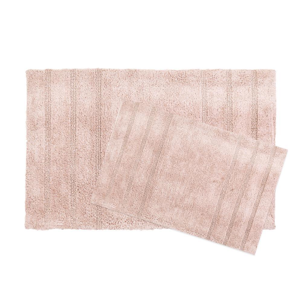 Newton Fawn Stripes 2-Piece (17 in. x 24 in.; 21 in. x 34 in.) Bath Mat Set