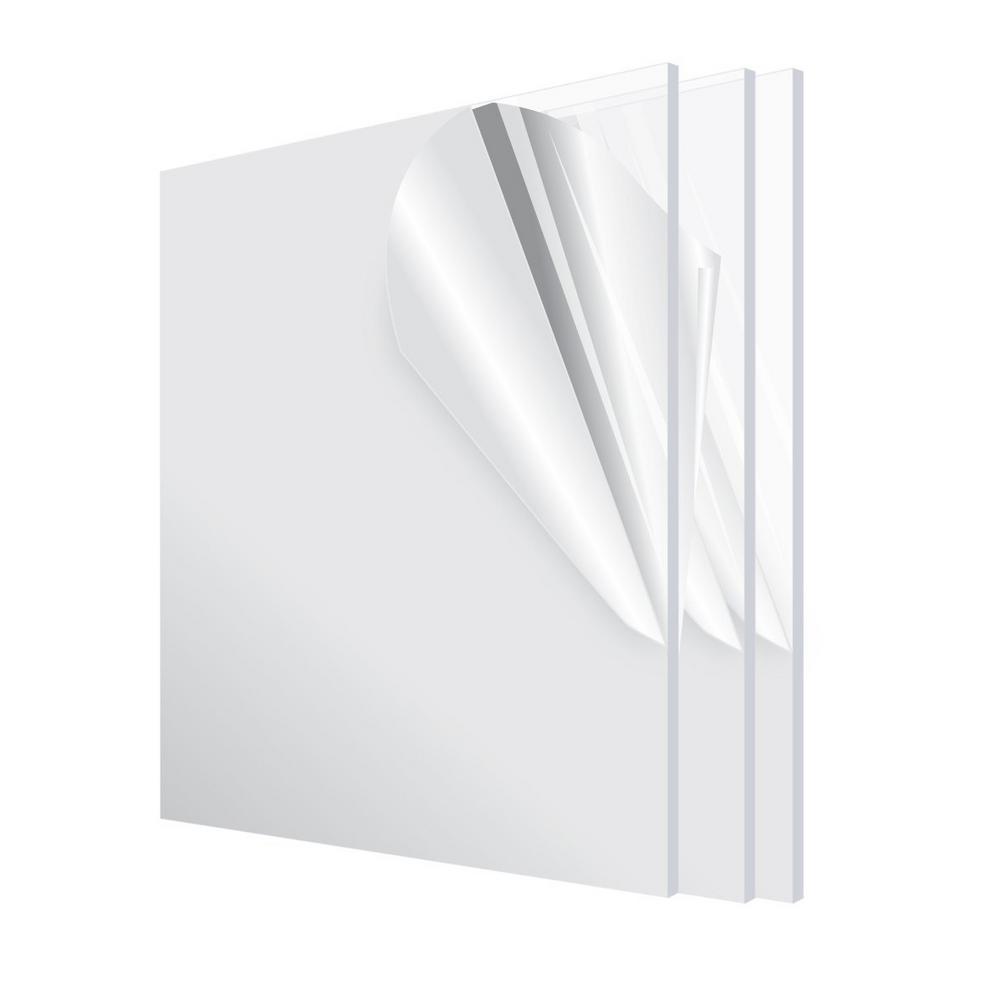 12 in. x 12 in. x 1/8 in. Clear Plexiglass Acrylic Sheet (3-Pack)