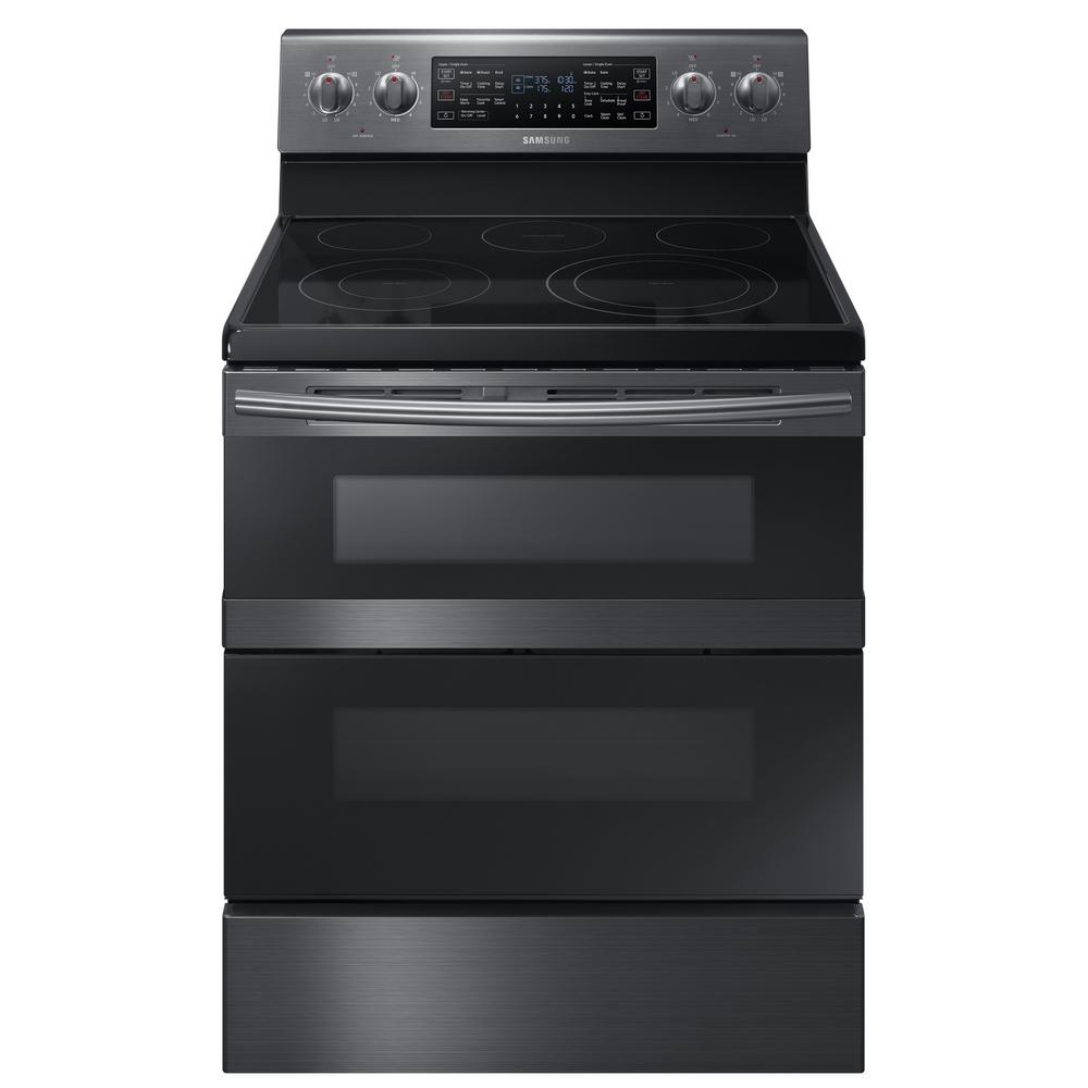 samsung 30 in 5 9 cu ft dual door electric range with self cleaning and dual convection oven. Black Bedroom Furniture Sets. Home Design Ideas