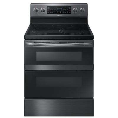 30 in. 5.9 cu. ft. Dual Door Electric Range with Self-Cleaning and Dual Convection Oven in Black Stainless Steel