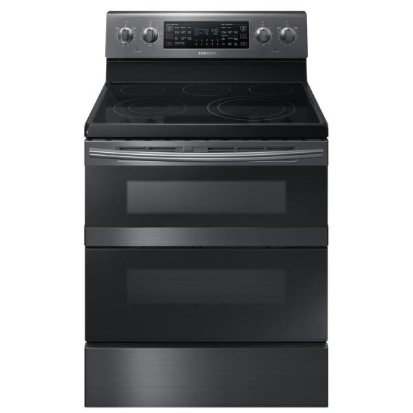 30 in. 5.9 cu. ft. Dual Door Electric Range with Dual Convection Oven in Fingerprint Resistant Black Stainless