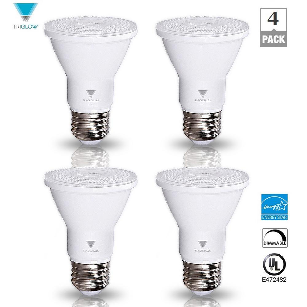 50 Watt Equivalent Par20 Dimmable Led Flood Light Bulb Energy Star Certified Warm White 4 Pack