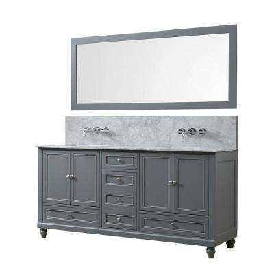 Classic Premium 72 in. W Bath Vanity in Gray with Carrara White Marble Vanity Top with White Basins and Mirror