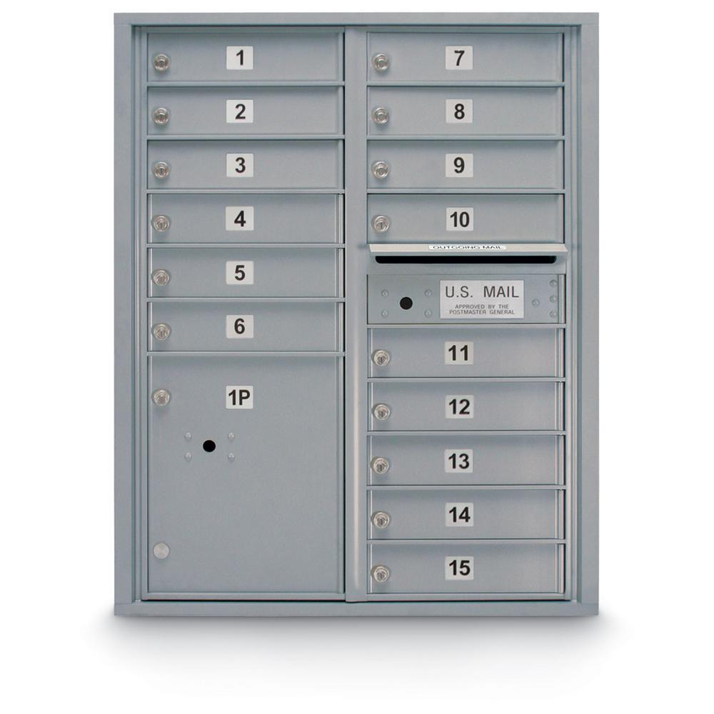 15-Compartment Standard 4C Front Loading Mailbox in Silver