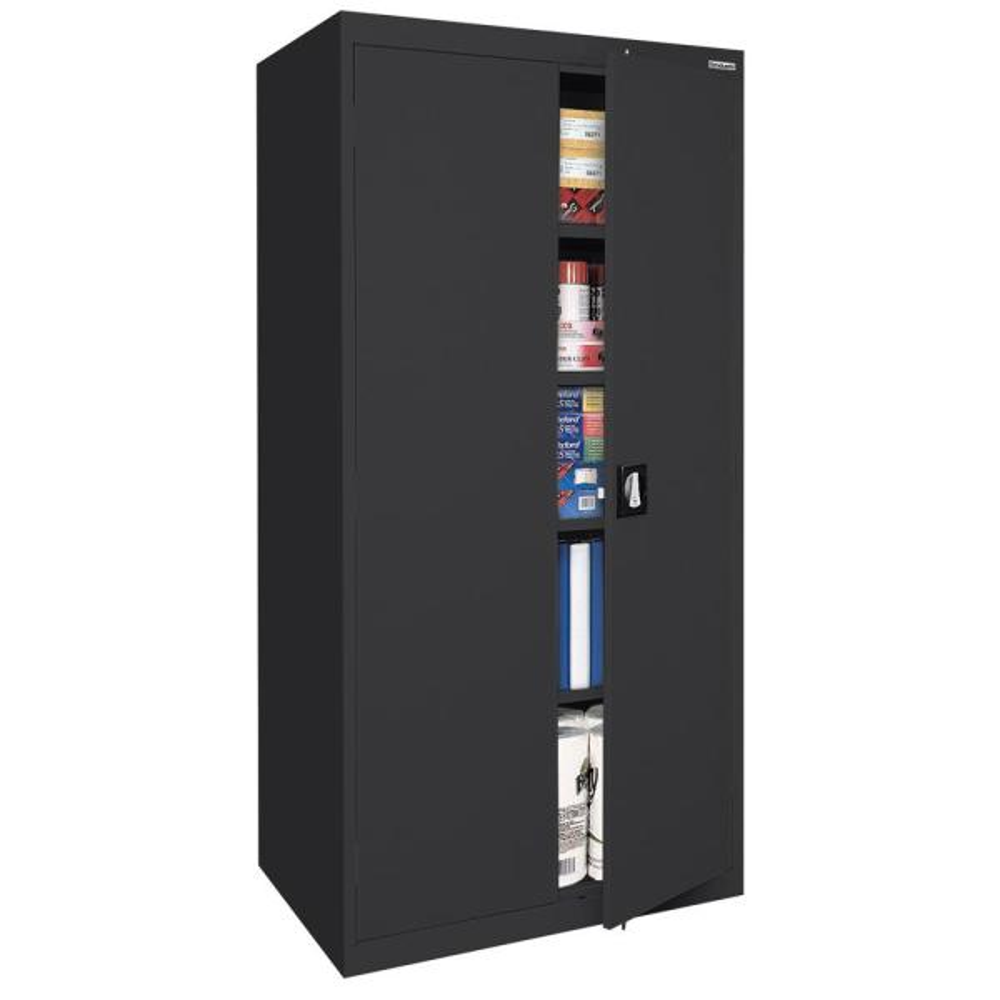 Sandusky Elite Series 72 In H X 36 In W X 18 In D 5 Shelf Steel Recessed Handle Storage Cabinet In Black Ea4r361872 09 The Home Depot