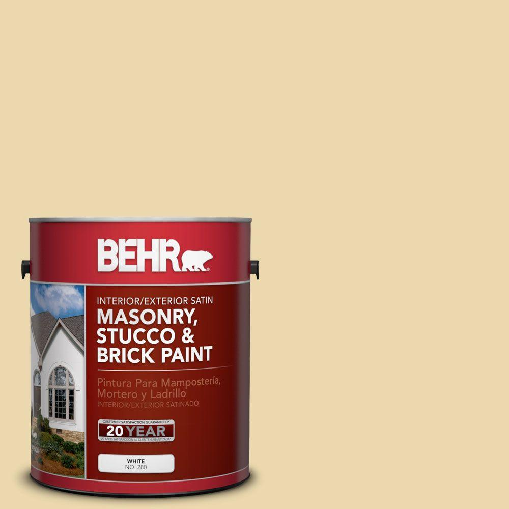 1-gal. #MS-35 Woodland Cream Satin Interior/Exterior Masonry, Stucco and Brick