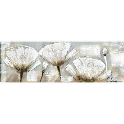 Poppy Whites II, Floral Art, Unframed Canvas Print Wall Art 20X60 Ready to hang by ArtMaison.ca