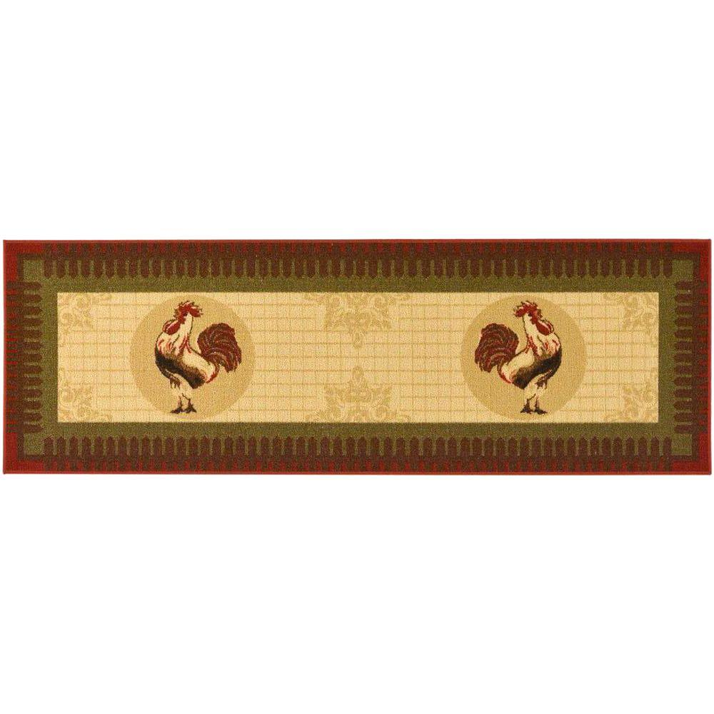 Ottomanson Siesta Kitchen Collection Rooster Design Beige 1 ft. 8 in. x 4 ft. 11 in. Runner