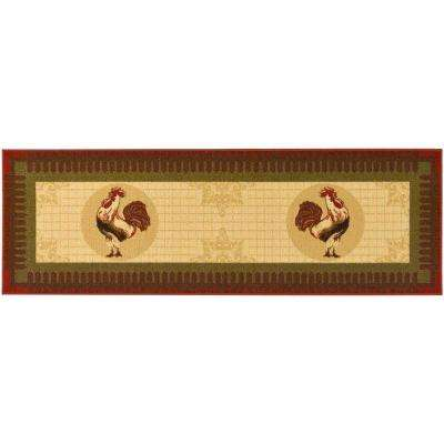Siesta Kitchen Collection Rooster Design Beige 1 ft. 8 in. x 4 ft. 11 in. Runner
