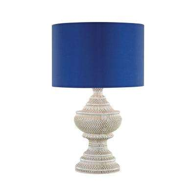 25 in. Kokopo Antique White Outdoor Table Lamp with Ultramarine Shade