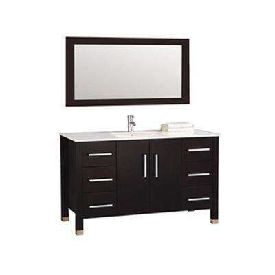 Monaco 60 in. W x 22 in. D x 36 in. H Vanity in Espresso with Microstone Vanity Top in White with White Basin and Mirror