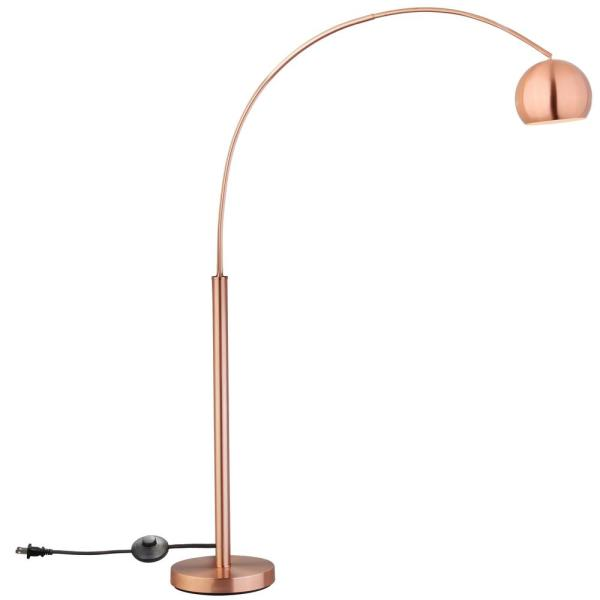 Copper Arc Floor Lamp With Metal Shade