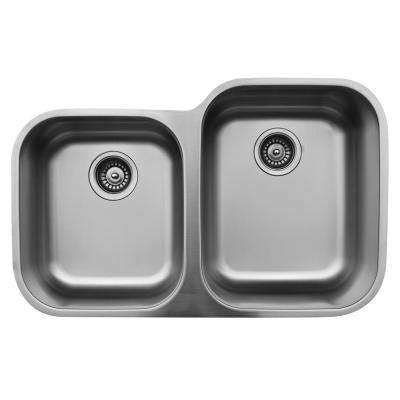 Undermount Stainless Steel 32 in. 40/60 Double Bowl Kitchen Sink