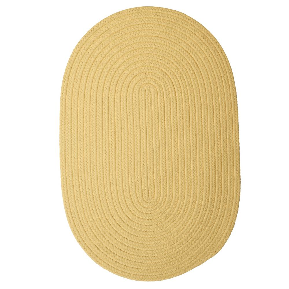 Trends Soft Yellow 3 ft. x 5 ft. Braided Oval Area Rug