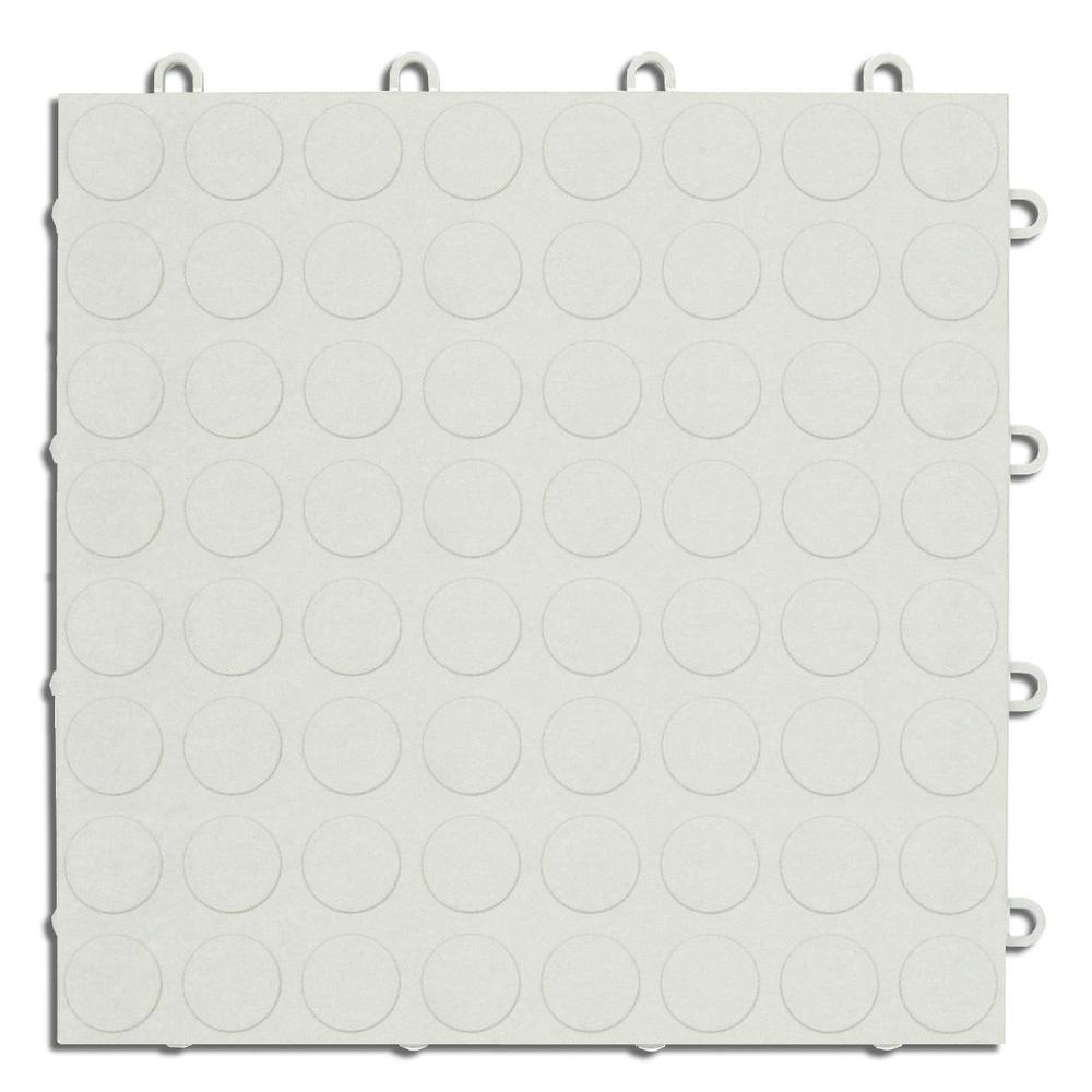 MotorMat Coin White 12 in. x 12 in. Garage Tile (40-Case)
