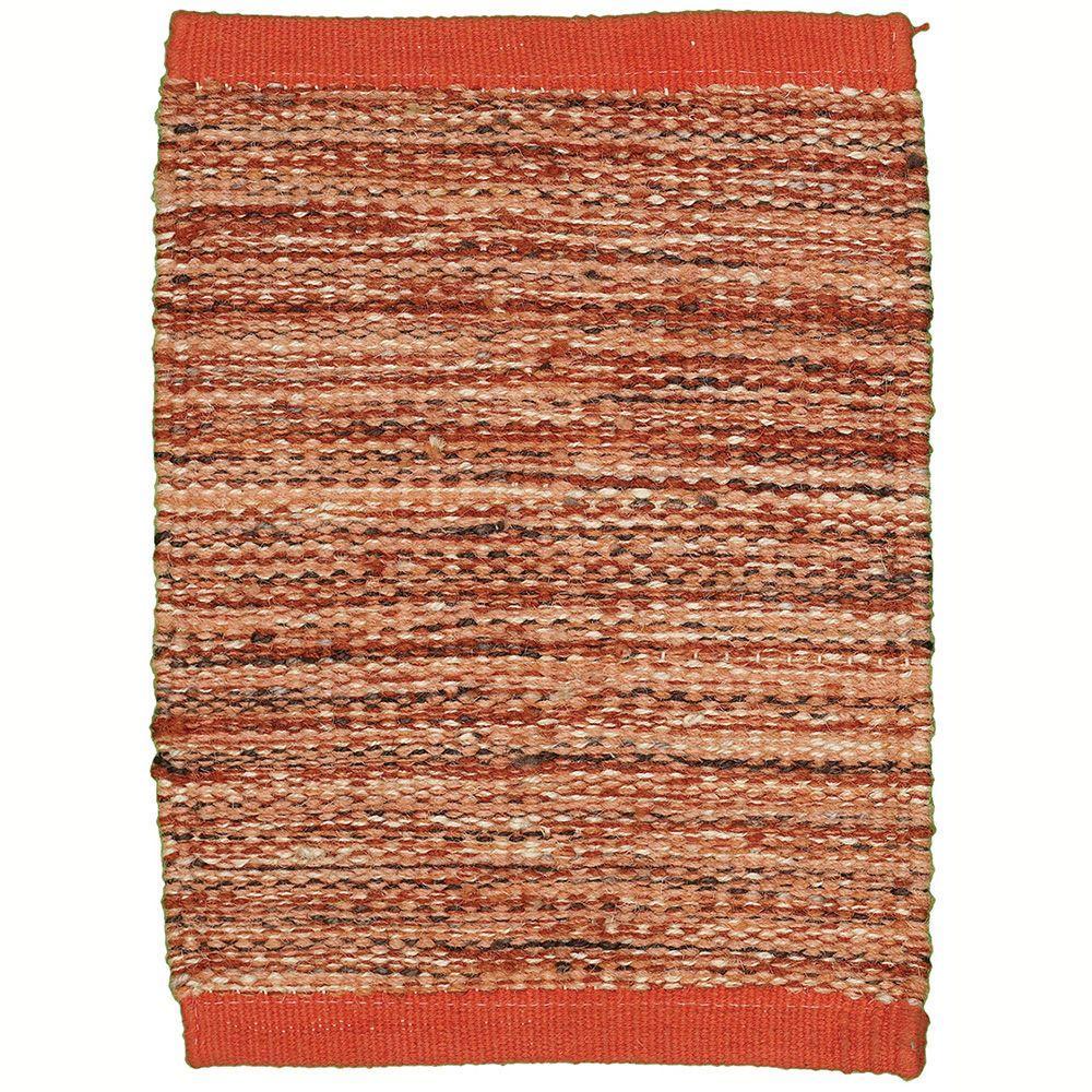 LR Resources Tribeca Rust 5 ft. x 7 ft. 9 in. Reversible Wool Dhurry Indoor Area Rug
