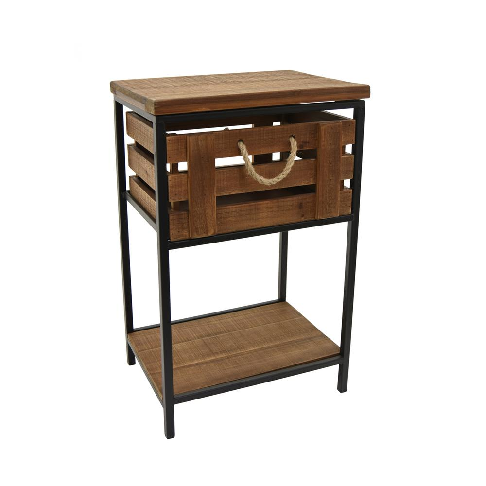 Delicieux Brown Wood And Metal Side Table