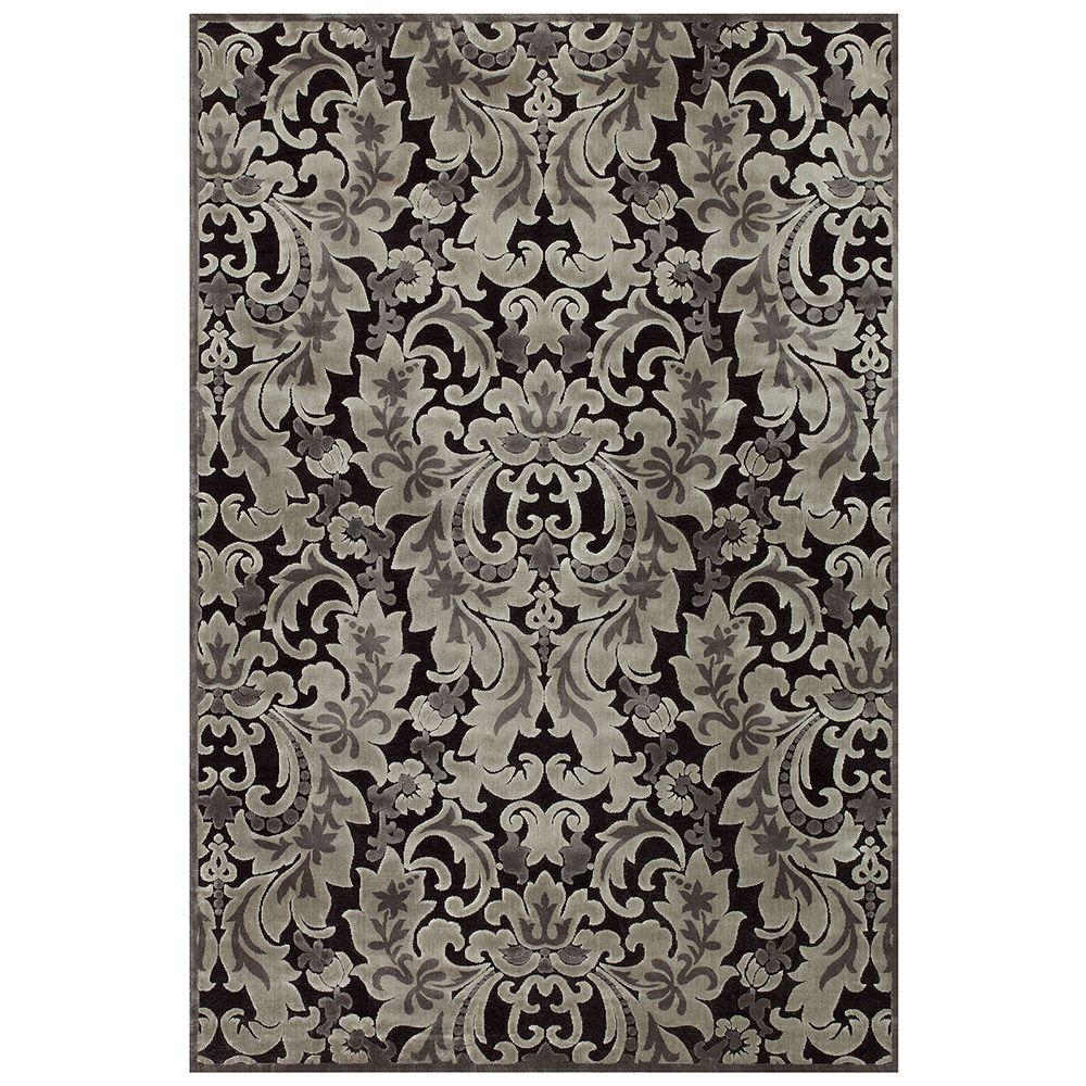 Feizy Saphir Black/Silver 7 ft. 6 in. x 10 ft. 6 in. Indoor Area Rug