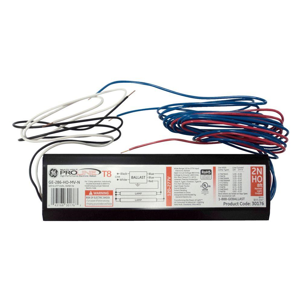 GE 120 to 277-Volt Electronic Ballast for 8 ft.2 or 1-Lamp High Output T8 Fixture (Case of 10)