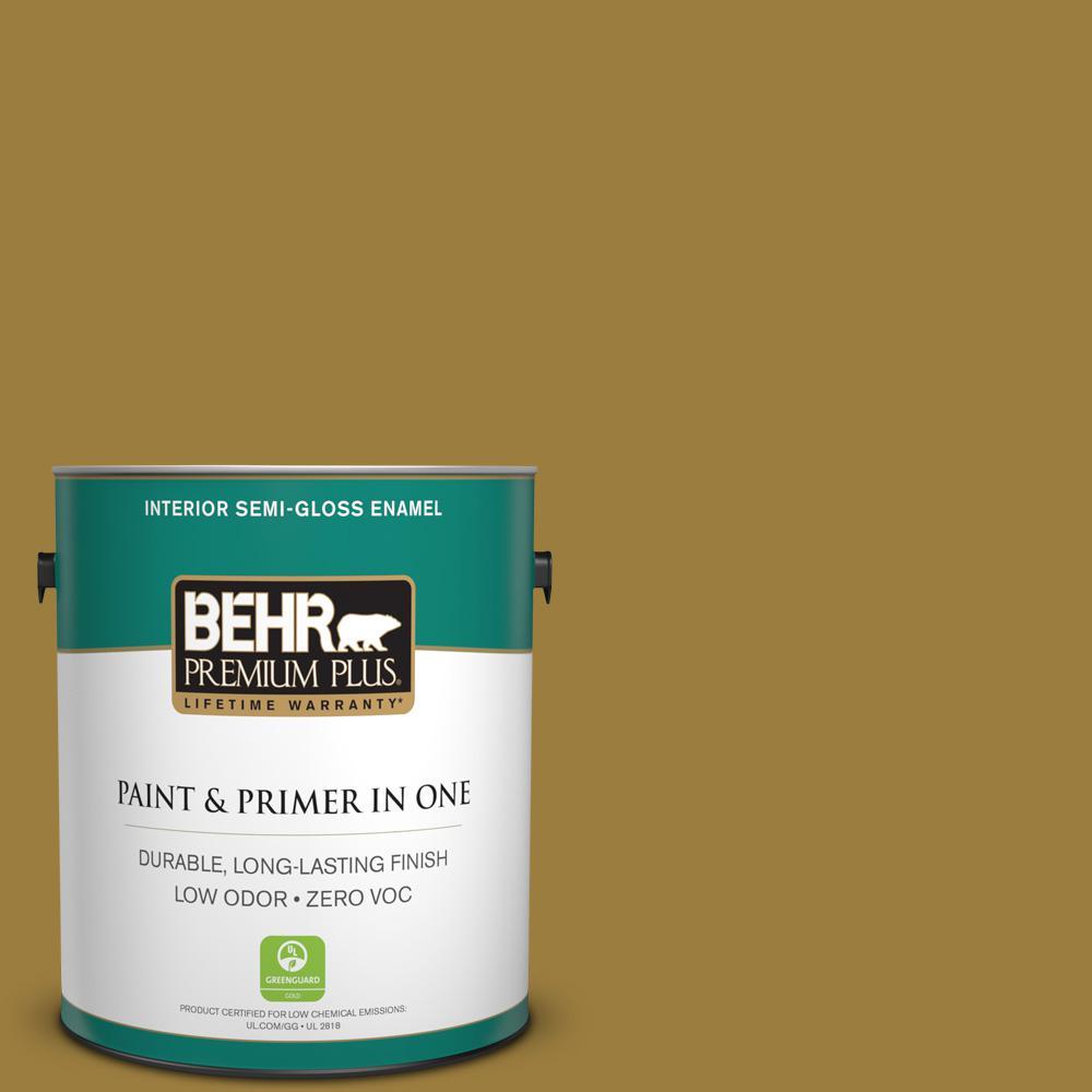 BEHR Premium Plus 1-gal. #S-H-380 Burnished Bronze Zero VOC Semi-Gloss Enamel Interior Paint
