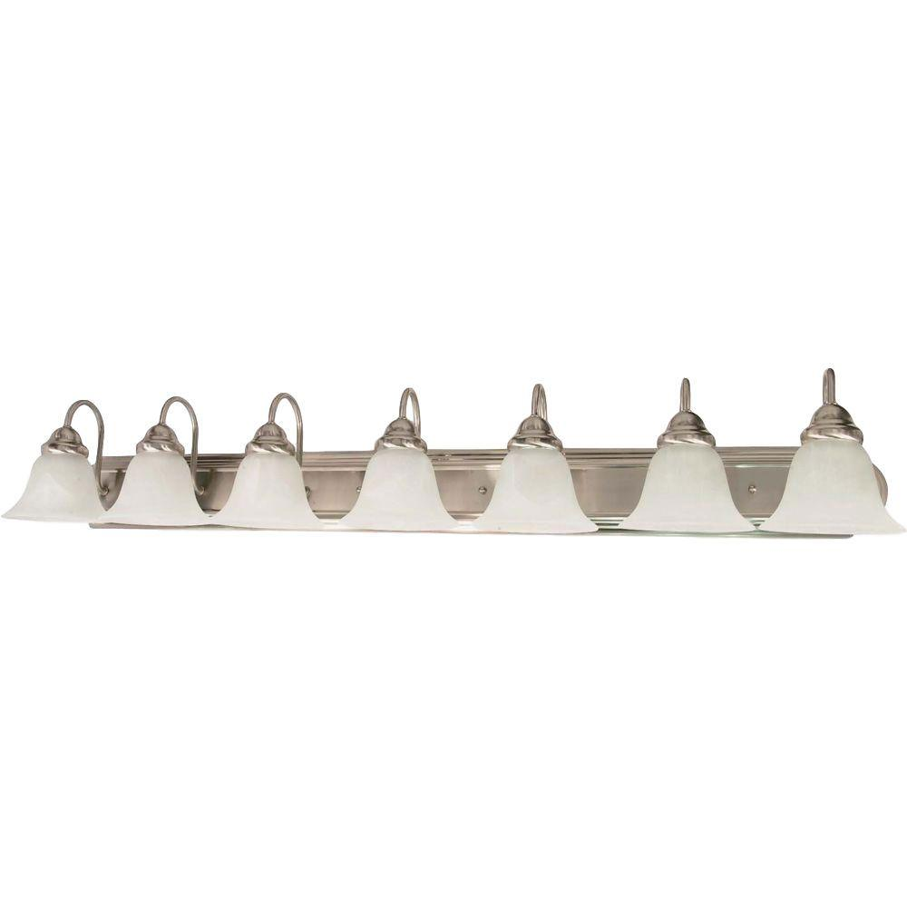 Glomar 7-Light Brushed Nickel Vanity Light with Alabaster Glass Bell Shade
