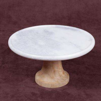 """Taj Elite"" Creamy White Marble with Mango Wood 10 in. Dia x 5 in. H Footed Cake Stand"