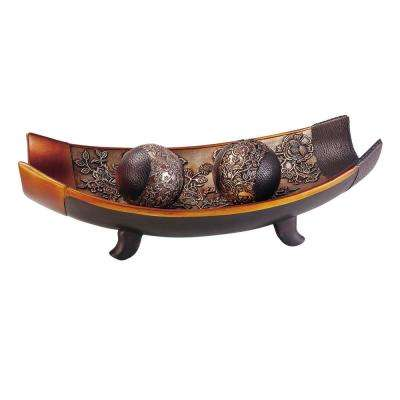 Brown Haya Polyresin Decorative Bowl With Spheres