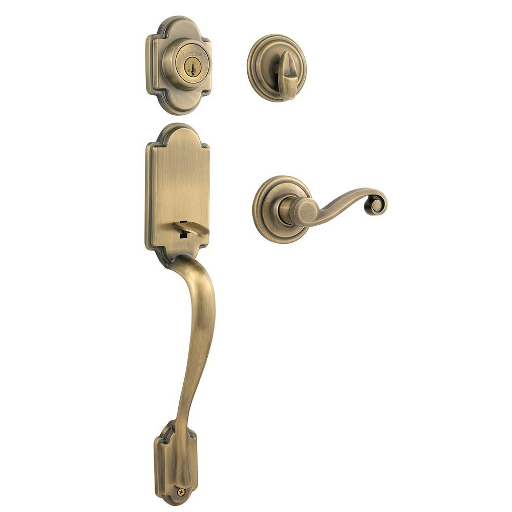 Arlington Antique Brass Single Cylinder Door Handleset with Lido Lever  Featuring SmartKey Security - Kwikset Arlington Antique Brass Single Cylinder Door Handleset With