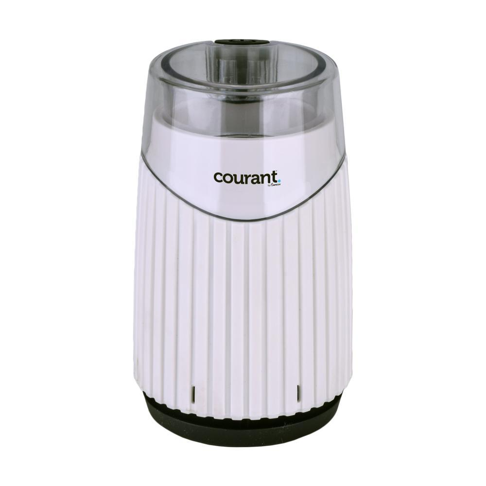 Coffee, Bean and Spices Grinder in White Enjoy a fresh cup of coffee every morning with the Courant Coffee, Bean and Spices Grinder. The grinder is suitable for coffee, beans, spices, tea leaves, herbs and nuts. It comes with sturdy and durable base, stainless-steel bowl and stainless-steel blades that turns coarse coffee beans into freshly ground coffee. Provides 6-cups of coffee capacity in bowl. Transparent lid allows the fineness grade to be observed. Color: White.