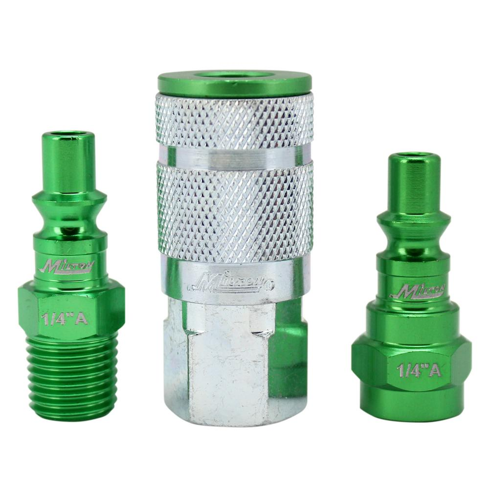 ColorFit by Milton Coupler and Plug Kit A-Style Green 1/4 in.