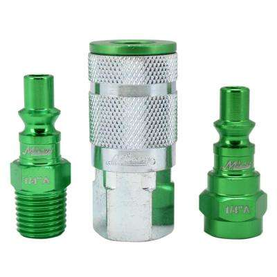 ColorFit by Milton Coupler and Plug Kit A-Style Green 1/4 in. NPT (3-Piece)