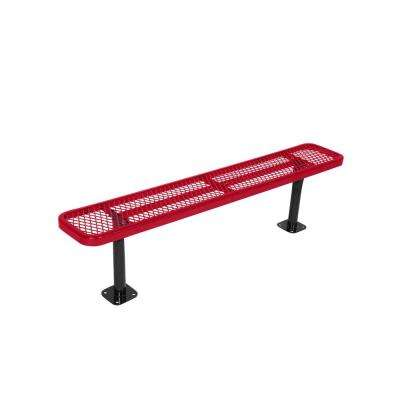 Surface Mount 8 ft. Red Diamond Commercial Park Bench without Back
