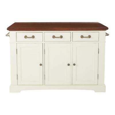 Country Kitchen Large Kitchen Island in White Finish with Vintage Oak Top