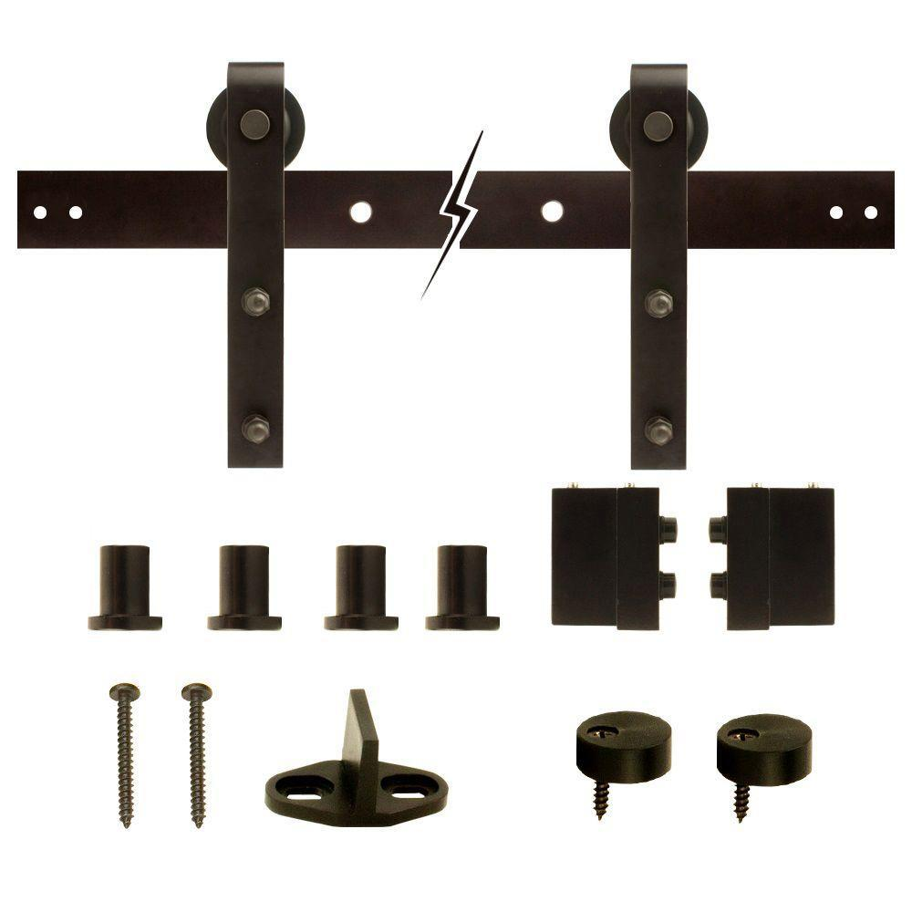 72 in. Dark Oil-Rubbed Bronze Strap Sliding Barn Door Track and