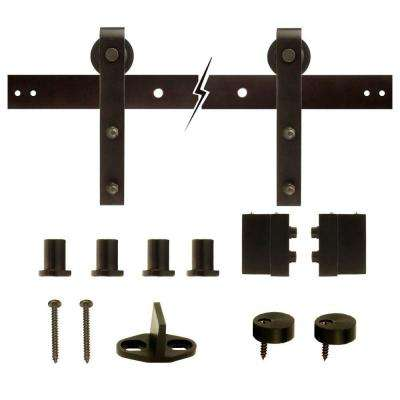 72 in. Dark Oil-Rubbed Bronze Strap Sliding Barn Door Track and Hardware Kit