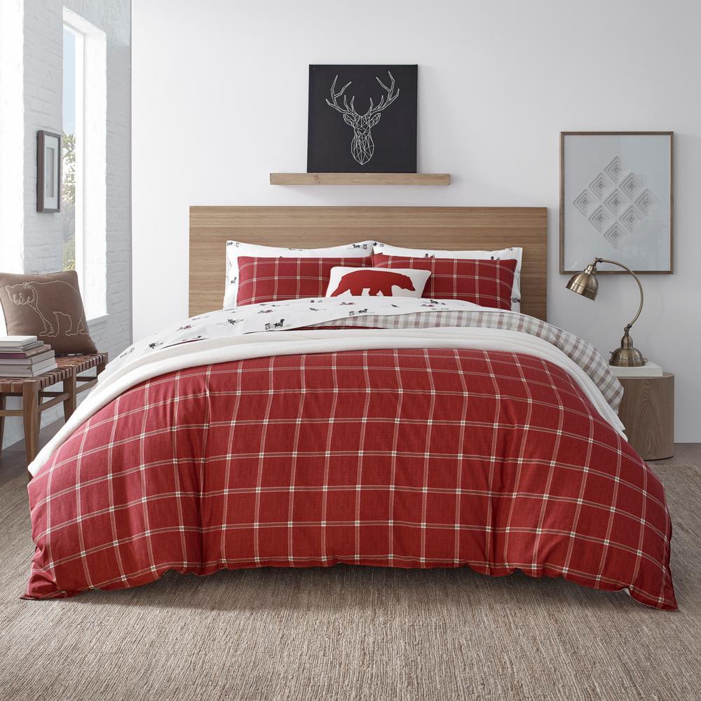 Corbett Plaid Red 3-Piece King Cotton Duvet