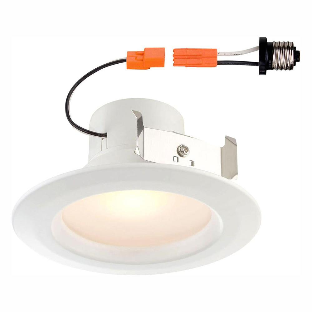EnviroLite Standard Retrofit 4 in. White Recessed Trim Warm LED Ceiling Light with 91 CRI, 2700K (2-Pack)