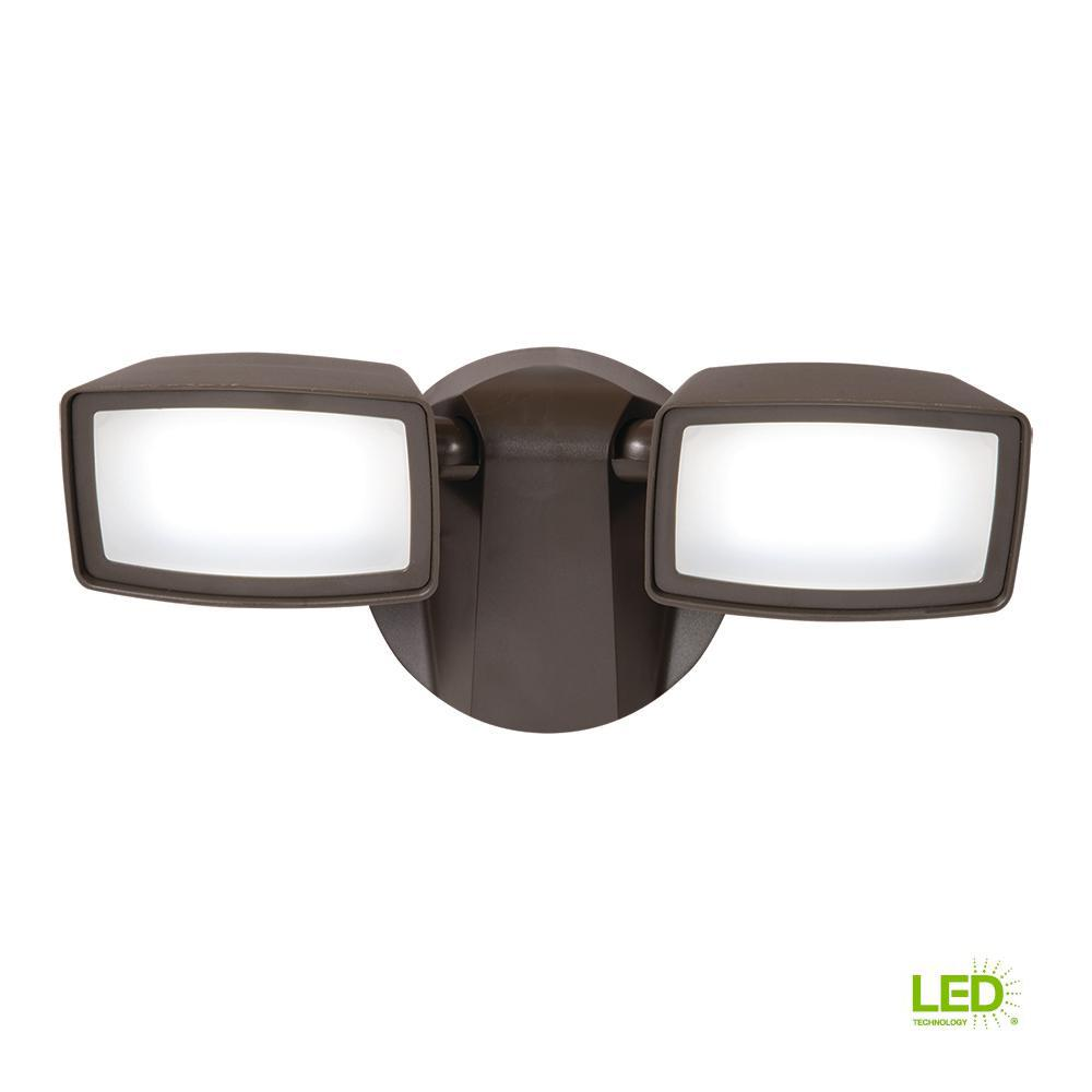 Bronze Outdoor Integrated LED Twin-Head Security Flood Light with 1050 Lumens,